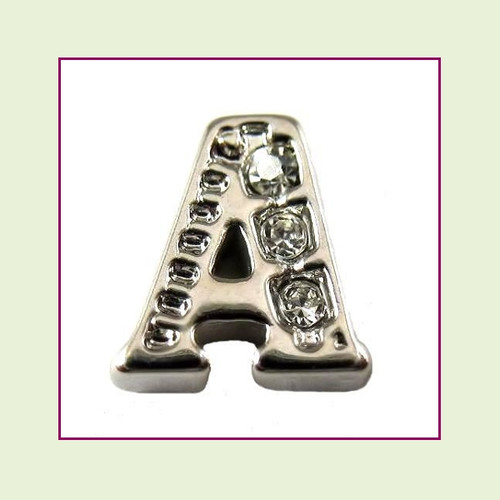 CZ Silver Letter A - Floating Charm
