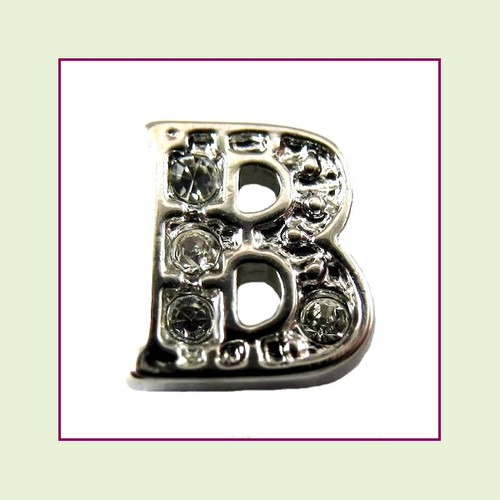 CZ Silver Letter B - Floating Charm