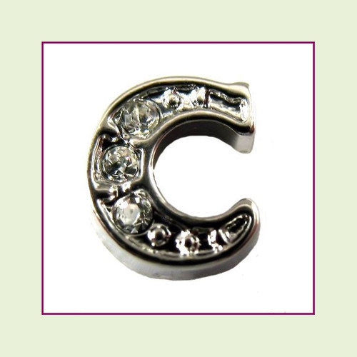 CZ Silver Letter C - Floating Charm