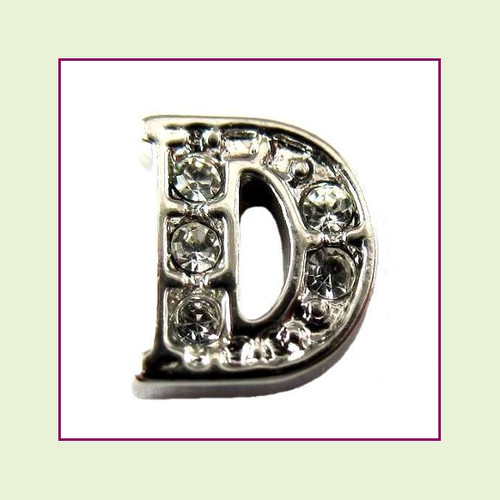 CZ Silver Letter D - Floating Charm
