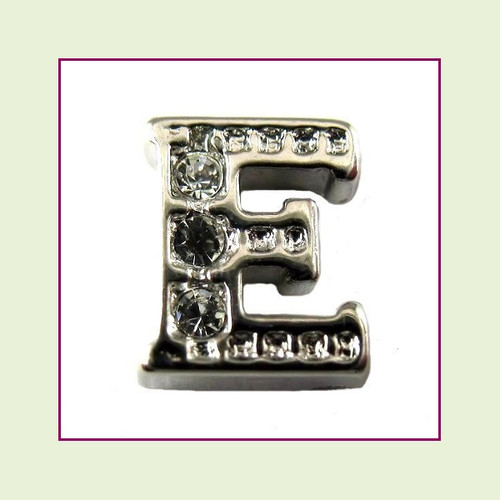CZ Silver Letter E - Floating Charm