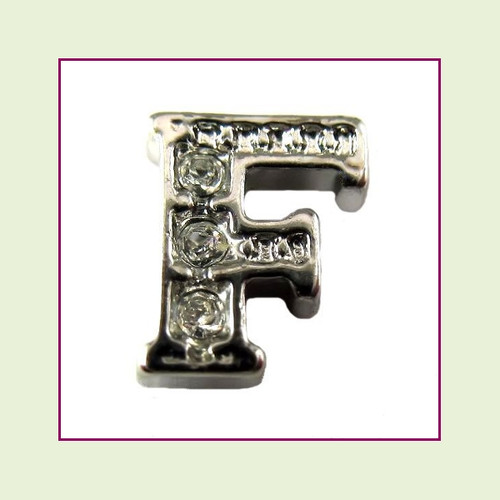 CZ Silver Letter F - Floating Charm