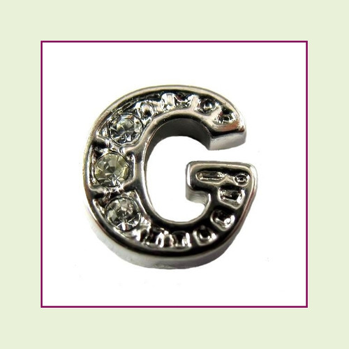 CZ Silver Letter G - Floating Charm