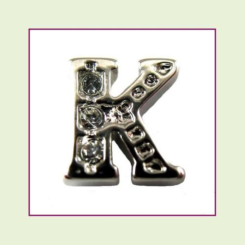 CZ Silver Letter K - Floating Charm