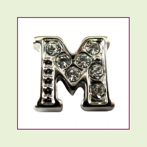 CZ Silver Letter M - Floating Charm