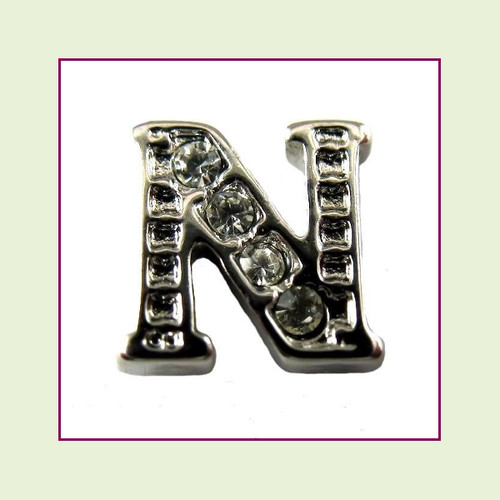 CZ Silver Letter N - Floating Charm