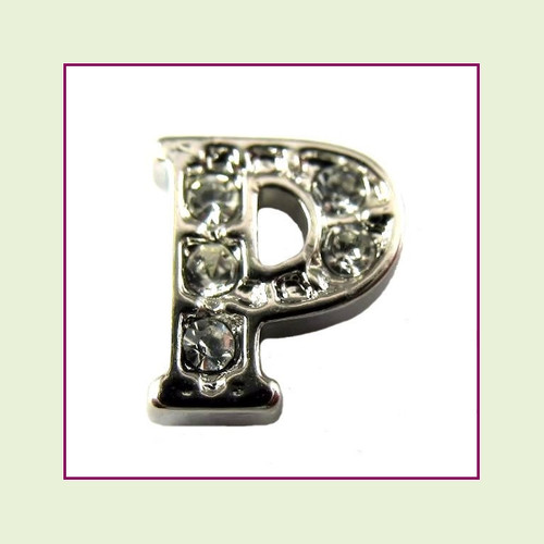 CZ Silver Letter P - Floating Charm