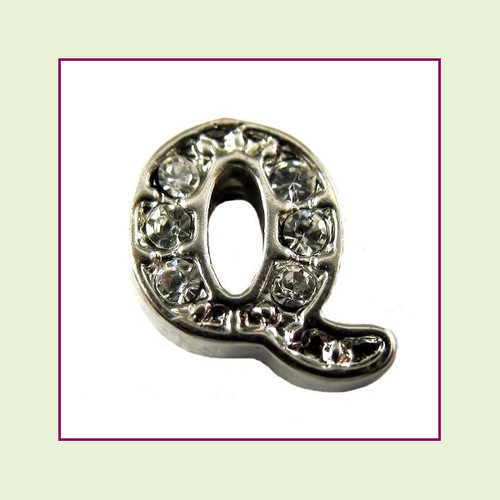 CZ Silver Letter Q - Floating Charm