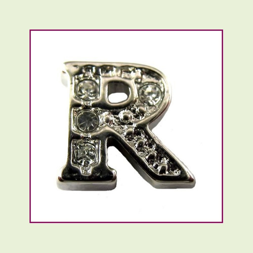 CZ Silver Letter R - Floating Charm