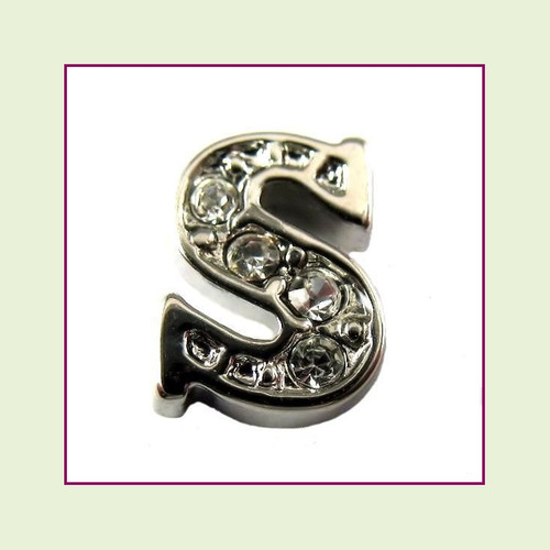CZ Silver Letter S - Floating Charm