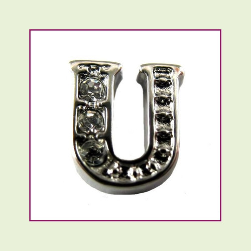 CZ Silver Letter U - Floating Charm