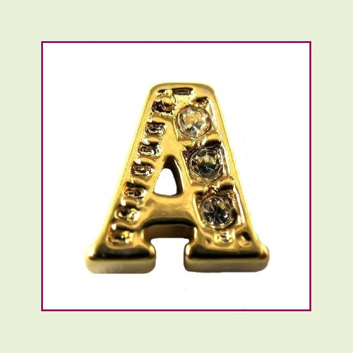 CZ Gold Letter A - Floating Charm