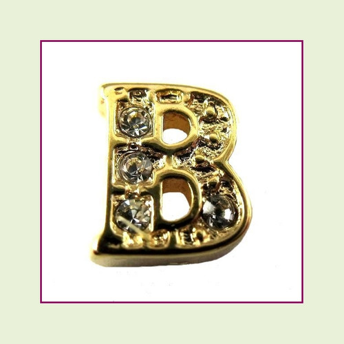 CZ Gold Letter B - Floating Charm