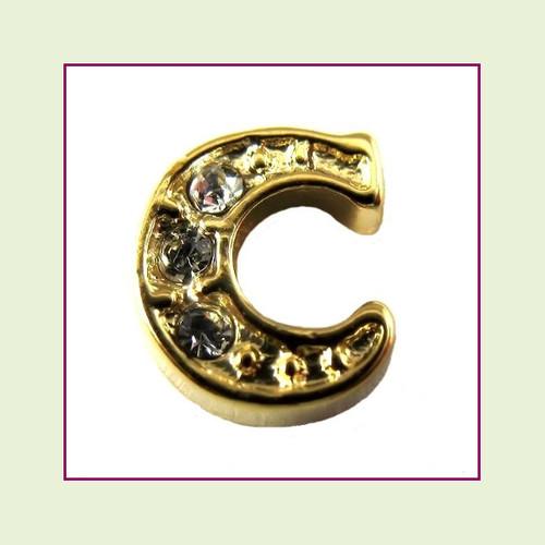 CZ Gold Letter C - Floating Charm
