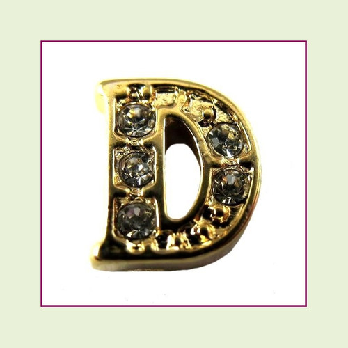 CZ Gold Letter D - Floating Charm