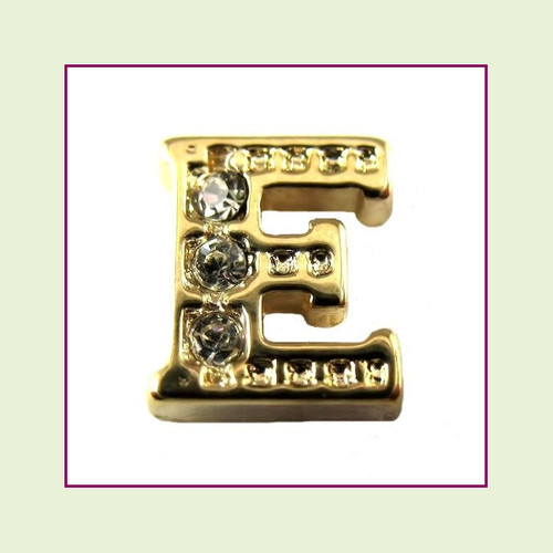 CZ Gold Letter E - Floating Charm