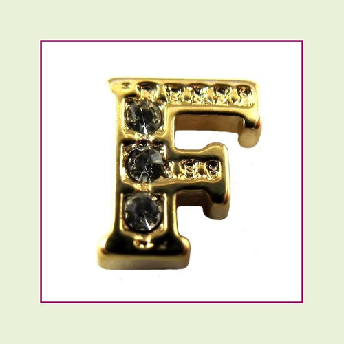 CZ Gold Letter F - Floating Charm