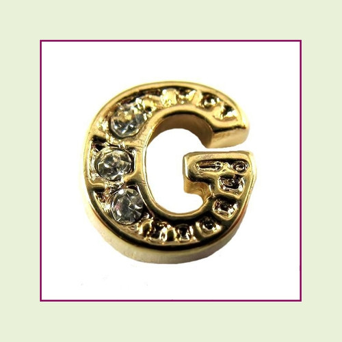 CZ Gold Letter G - Floating Charm