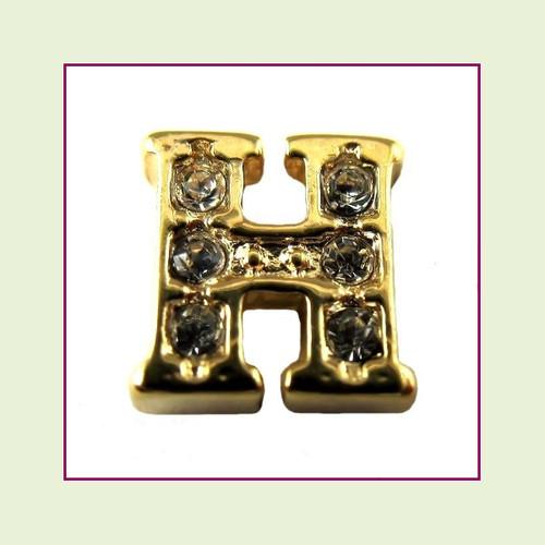 CZ Gold Letter H - Floating Charm