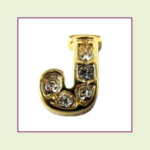 CZ Gold Letter J - Floating Charm