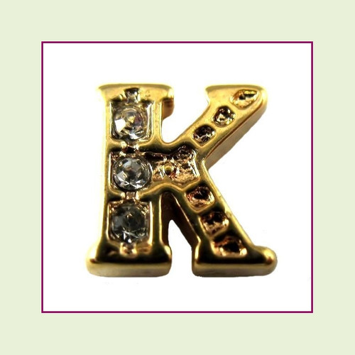 CZ Gold Letter K - Floating Charm
