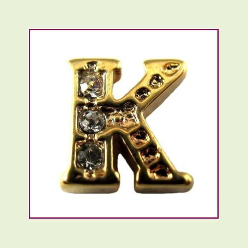 CZ Gold Letter K - Floating Charm