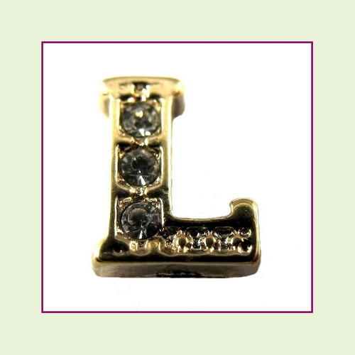CZ Gold Letter L - Floating Charm