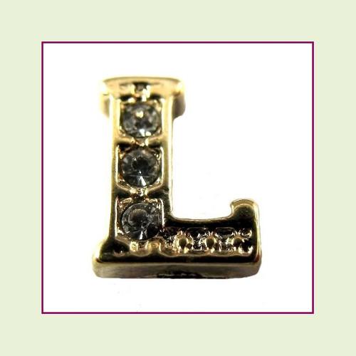 CZ Gold Letter L - Floating Charm