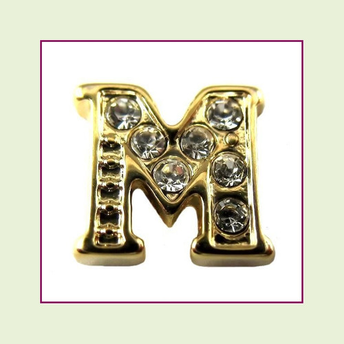 CZ Gold Letter M - Floating Charm