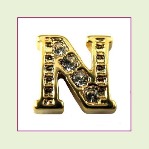 CZ Gold Letter N - Floating Charm