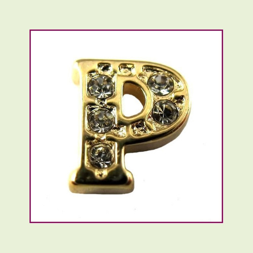 CZ Gold Letter P - Floating Charm