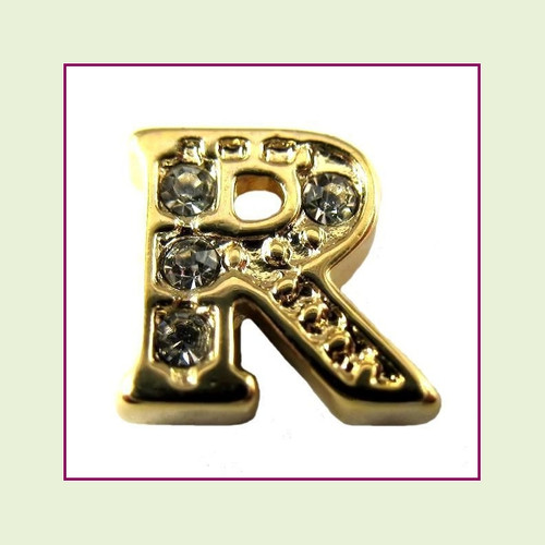 CZ Gold Letter R - Floating Charm