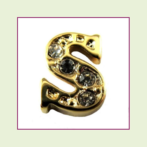 CZ Gold Letter S - Floating Charm