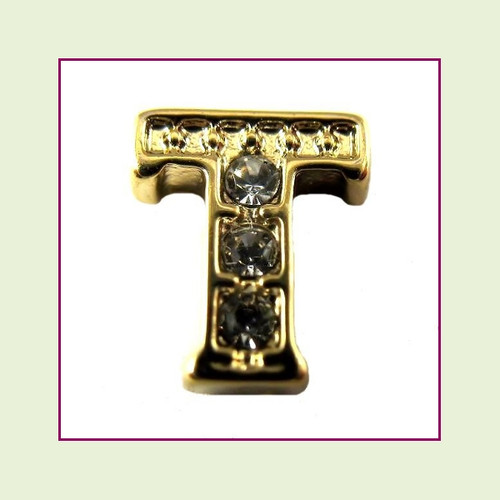 CZ Gold Letter T - Floating Charm