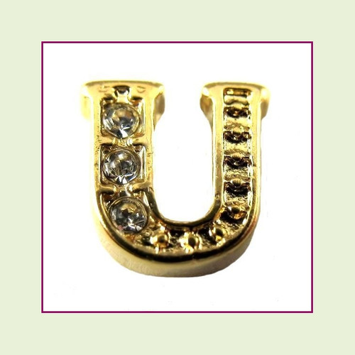 CZ Gold Letter U - Floating Charm