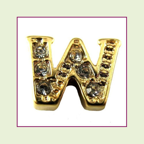 CZ Gold Letter W - Floating Charm
