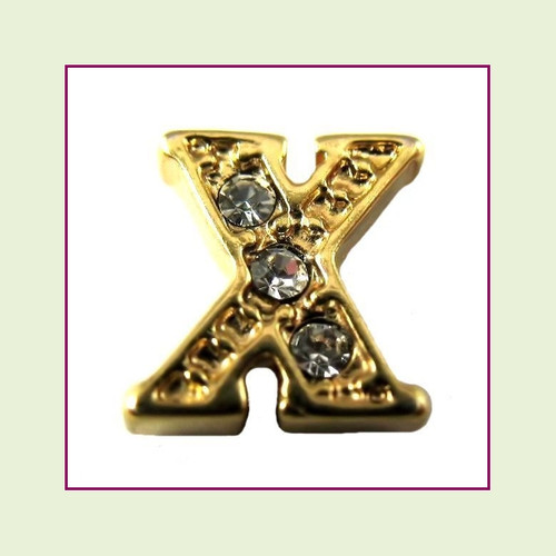 CZ Gold Letter X - Floating Charm