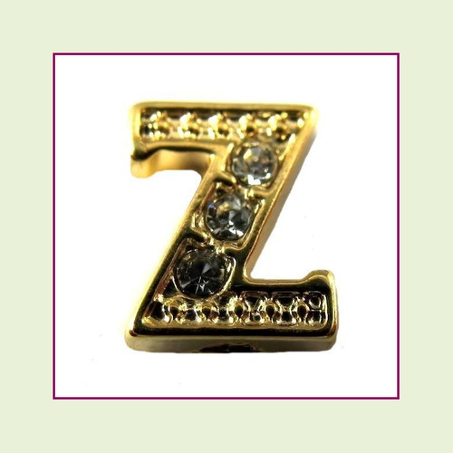 CZ Gold Letter Z - Floating Charm