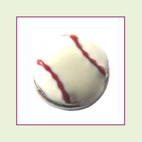 Baseball with Red Stitches (Silver Base) Floating Charm