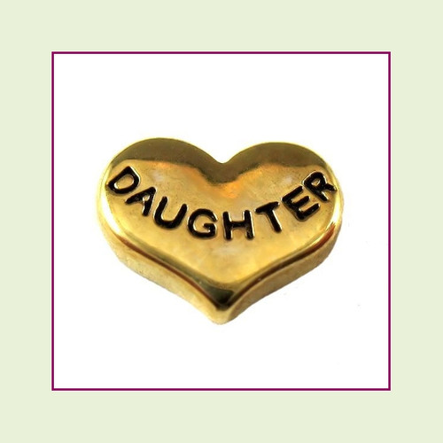 Daughter on Gold Heart Floating Charm
