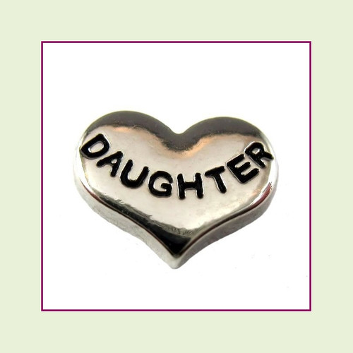 Daughter on Silver Heart Floating Charm