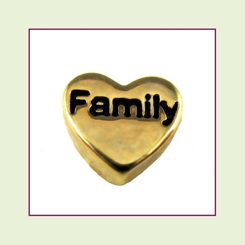 Family on Gold Heart Floating Charm