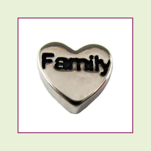 Family on Silver Heart Floating Charm
