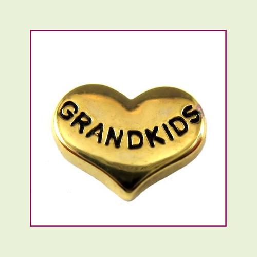 Grandkids on Gold Heart Floating Charm