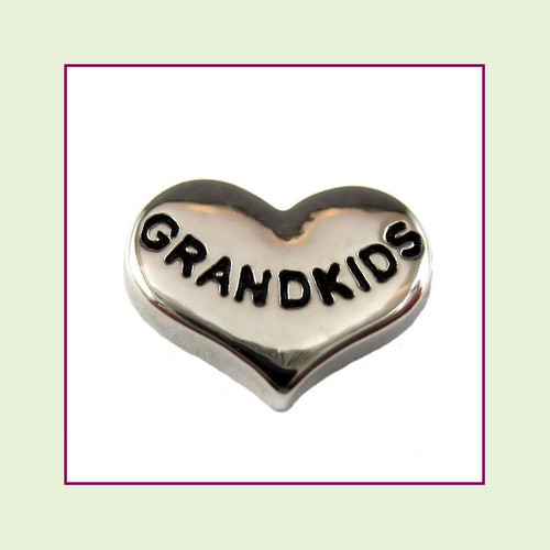 Grandkids on Silver Heart Floating Charm