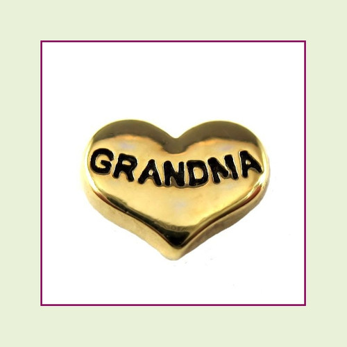 Grandma on Gold Heart Floating Charm
