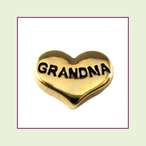 Grandma on Gold Heart Floating Charm