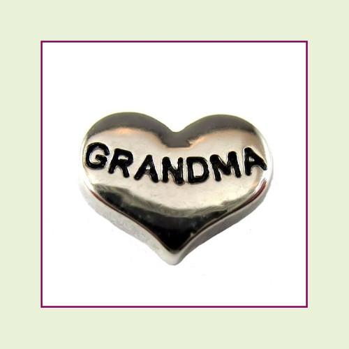 Grandma on Silver Heart Floating Charm