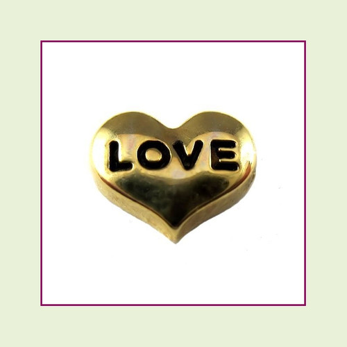 Love on Gold Heart Floating Charm
