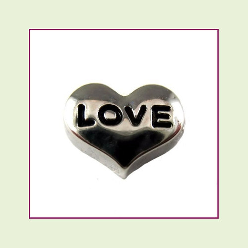 Love on Silver Heart Floating Charm